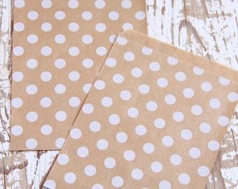 10 Sacchettini di carta kraft a pois bianchi