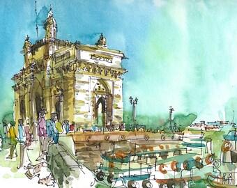 Mumbai sketch, Gateway of India, Bombay India print from an original watercolor sketch