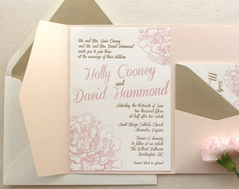 The Peony Suite - Modern Letterpress Wedding Invitation Sample Gold, Blush Pink, flower, Calligraphy, Script, liner, Simple, Classic, pocket