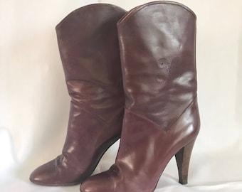 1980's Casadei Mohogany Leather Wood Heel Boots sz. 7