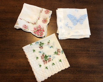 Lot of 3 Vintage Handkerchief Hankies Embroidered Pink Roses, Brown & Blue Flowers, Appliqué Cut Out Butterfly Hankie, Handkerchiefs.
