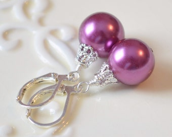 Fun Holiday Earrings, Plum Glass Pearls, Silver Plated, Bright Color, Leverback Earwires, Christmas Jewelry