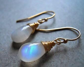 Rainbow Moonstone earrings, Spiral earrings, Smooth Pear cut, 3 metal choices, Rose Gold Earrings,  Gold Filled Earrings, sterling earrings