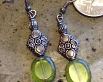 Green glass and silver beaded earrings, bohemian earrings, one of a kind