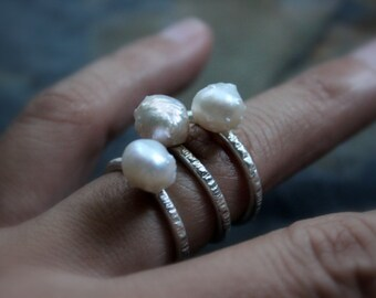 Natural White Baroque Pearl Sterling Silver Ring |June Birthstone | Alternative Engagement Women's Bridal | Gugma Minimalist Jewelry
