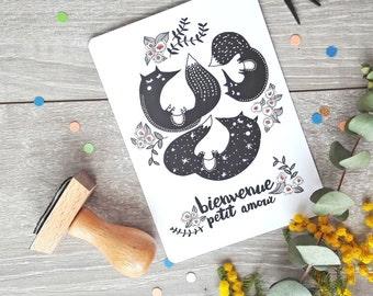 Carte Naissance Bienvenue petit amour - Illustration Renard Frais de port offerts!