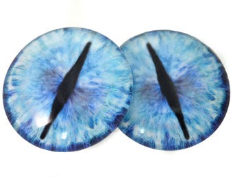 Blue Ice Dragon Glass Eyes - Pick Your Size - for Jewelry Making, Art Dolls, Taxidermy, Sculptures - Eyeball Flatback Domed Circle Cabochons