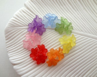 13mm Frosted Lucite Flowers - You choose color