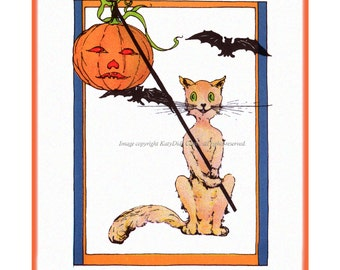 Halloween Cat Card - Bats and Jack O Lantern Greeting Card