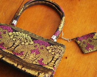 1990s Handbag 90s Bag with Matching Coin Purse Phoebe Buffay Style Retro Elephant Print