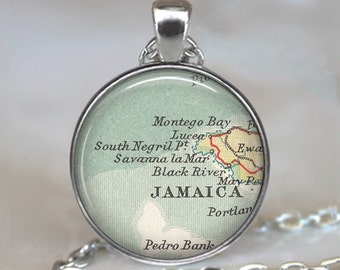 Montego Bay pendant, Negril Jamaica map pendant Montego Bay map necklace Jamaica map necklace bridesmaid gift key chain key ring key fob