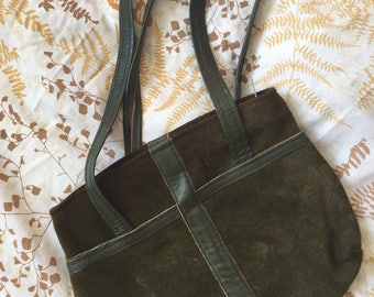 1960s olive green suede purse
