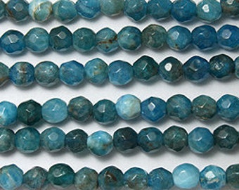 Blue apatite  faceted round bead 6mm 15.5 inch strand