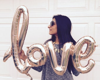 """40 inch """"LOVE""""  Foil Balloons - Rose Gold Balloon  Bachelorette Party Wedding Anniversary Valentines Day Decoration Event Bridal Shower"""