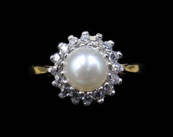 Cultured Pearl and Paste Round Cluster Halo 18ct Gold on Silver Ring | Vintage Victorian Style | Wedding Bridal Bride Pearl Ring
