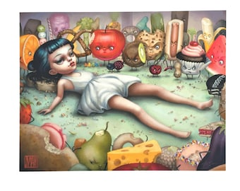The Epicure - Monday the Food Girl - Limited Edition signed 8x10 pop surrealism Fine Art Print by Mab Graves