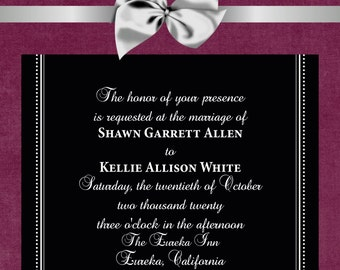 "Elegant Wedding Invitation 5""x7"" Digital Card & RSVP Postcard"