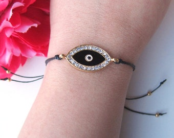 evil eye charm with crystal rhinestones on black waxed linen cord - gifts for her - friendship bracelet - women's gift - bohemian accessory