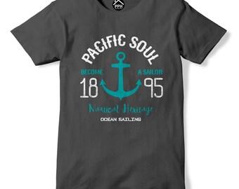 Pacific Soul Nautical Heritage Sailor T Shirt Ocean Sea Sailing tshirt Gift PP156