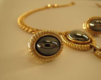Louis Feraud vintage signed demi parure set clip on earrings and necklace