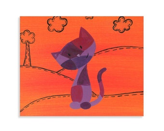 Calico Cat Print - Orange and Purple Colorful Cat Art - Bright Colors Nursery Wall Art