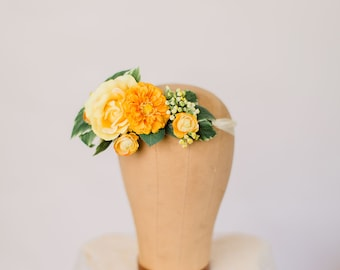 Sunny floral head piece with rich yellow blooms, floral hair wrap,