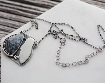dendritic agate necklace. adjustable chain. snowy owl silhouette. natural winter gemstone. antique sterling silver pendant. artisan jewelry