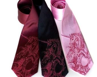 Pink Unicorn tie. Silkscreened microfiber necktie, standard or narrow width.