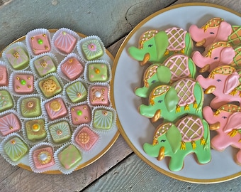 Custom cookies-pink and green-circus elephant cookies-baby shower-child birthday-Customized cookies-customized petite fours-custom treats