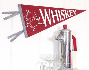 Pennant Whiskey Silkscreen Hand Screen Printed on Red Wool Felt