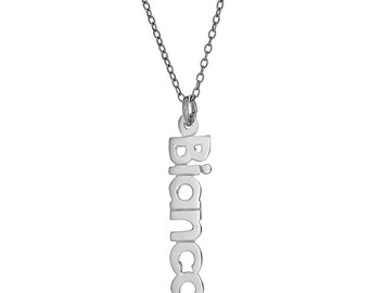 925 Sterling Silver Vertical Block Letter Name Necklace with Chain (MADE IN USA)