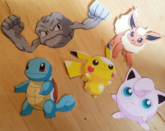 Cardstock pokemon cutouts. 12 pack of pokemon. Choose from Pikachu, Squirtle, Geodude, Pyro, Jigglypuff or more! Variety pack available