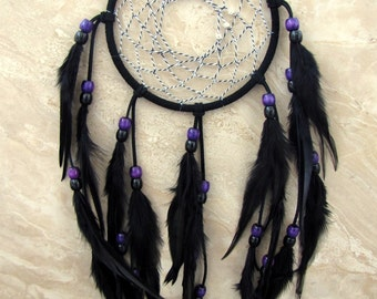 Dream Catcher - Large Black and Purple Native American Feather Dreamcatcher - Black Sun