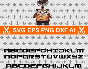 walle svg, wall e alphabet svg, disney aphabet, alphabet svg files for cricut