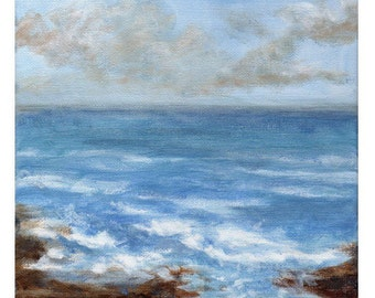 Shoreline - Original Landscape Painting of Sky Clouds Ocean Water Rocks Zen Fresh Air