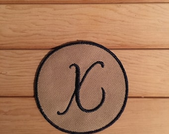 Navy and Tan Iron-On Monogram, Embroidery Letter X
