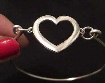 Silver Heart shaped Bangle