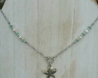 Freshwater Pearl and Jade Silver Starfish Necklace