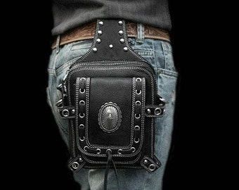 Leather Biker Waist Pouch with Front Pocket / K06C02, Metal Concho