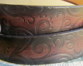 Customizable 1 1/2 inch, Large Swirl Design Leather Ring Belt, Medieval, Renaissance, SCA, Fantasy