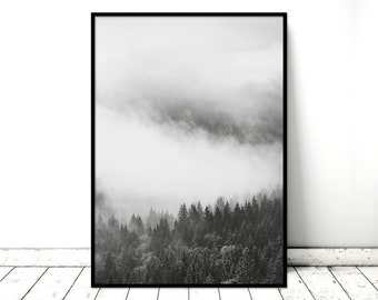 Printable Art Poster Forest Mist Monochrome Nature Wall Art. Printable *INSTANT DOWNLOAD PDF* A2, A3, A4, resizable