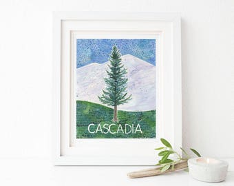 Cascadia Art Print / Oregon Art Print / Washington Art Print / Watercolor Art Print / Art Print / Watercolor Gifts / Pacific Northwest Art