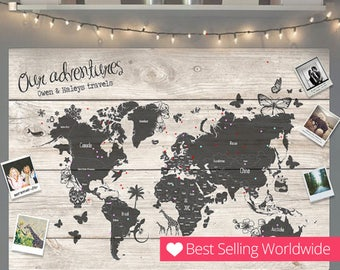 Personalised Travel World Map Pin Cork Board - Couples Wedding Gift Valentines Unique Holiday Girlfriend Wedding Decor Home Family Boyfriend