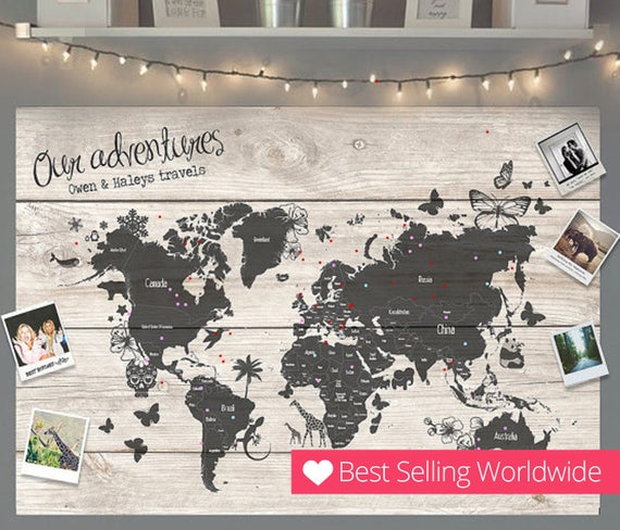Personalised travel world map pin cork board couples wedding gumiabroncs Choice Image