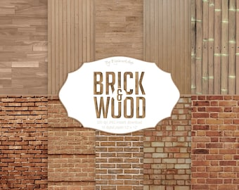 "Brick and Wood Digital Paper: ""Brick & Wood"" brick background, brick texture, brick wall texture, brick wall, wood background, wood texture"