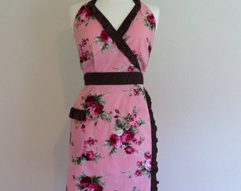 Retro apron Sweetie, Pink floral and Polka Dots. 1950s vintage inspired, fully lined.