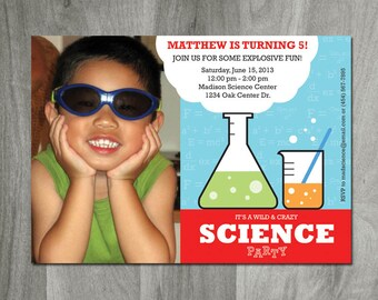 Science Birthday Party, Science Party Invitation, Personalized, Printable, Photo Invitation, Science Lab, Jpeg and Pdf Digital File