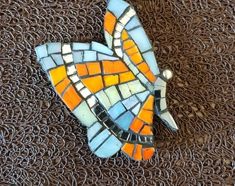 Wood magnet - Magnet - Butterfly - mosaic - paste - glass - holder
