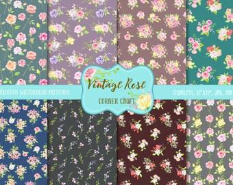 Watercolor Digital Paper Virnage Rose dark theme,  watercolor background, rose pattern, cottage rose pattern for instant download