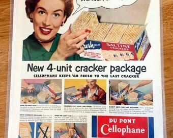 Vintage Advertisement Art  DuPont Cellophane 1950s Woman Saltine Crackers Kitchen Art